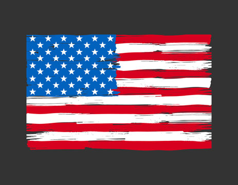 Old dirty flag of United States.Grunge American flag