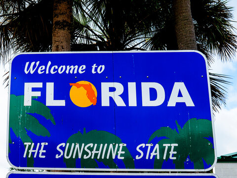 welcome to Florida sign at the Border with the State of Georgia in the USA