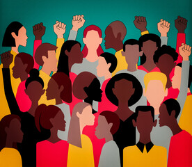 Protesters all over the world. Black Lives Matter movement, protests against police brutality and racism. Raised fist hand. Pattern, texture. Symbol of black rights activists.