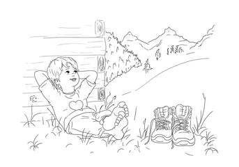 Junge Kind sitzt barfuß bequem Hände hinter Kopf angelehnt Lächeln Himmel Blick aufwärts oben Wanderer Ausmalbild Schuhe Pause Berge Gebirge Allgäu Bayern Österreich Schweiz Tirol Urlaub Herz Natur