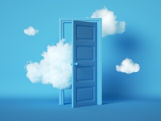 Fototapeta 3d render, white fluffy clouds going through, flying out, open door, objects isolated on blue background. Door to haven abstract metaphor, modern minimal concept. Surreal dream scene obraz