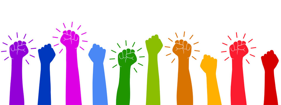 Set hands up proletarian revolution, clenched fist hand. Raised fist - symbol of victory, protest, strength, power and solidarity icon – stock vector