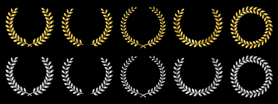 Laurel wreath of victory icon. Set gold and silver laurel foliate, wheat and oak wreaths depicting an award, achievement, heraldry, nobility. Emblem floral greek branch flat style