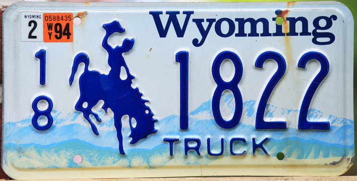Old licence plate number of Wyoming, USA