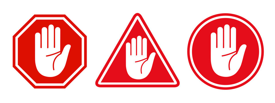 Set stop red sign icon with white hand - stock vector