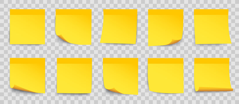 Set yellow sticky papers on transparent background, collection stick note in yellow color isolated, notes with shadow - for stock