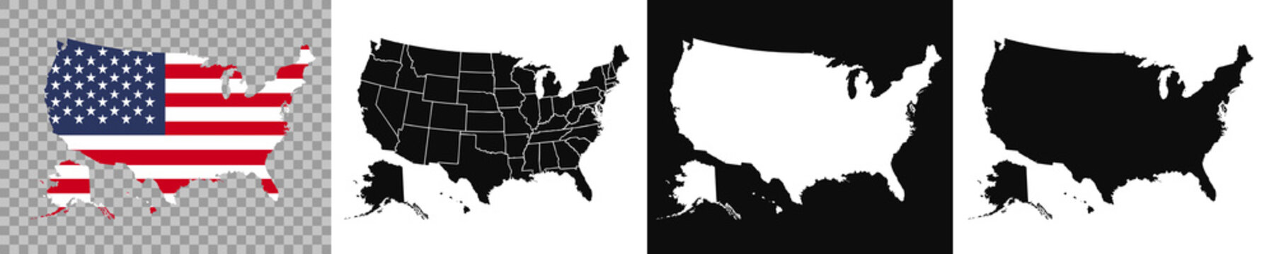 United States of America map. USA map with and without states isolated and on flag background – stock vector