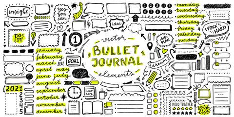 Obraz vector set of elements for bullet journal - fototapety do salonu