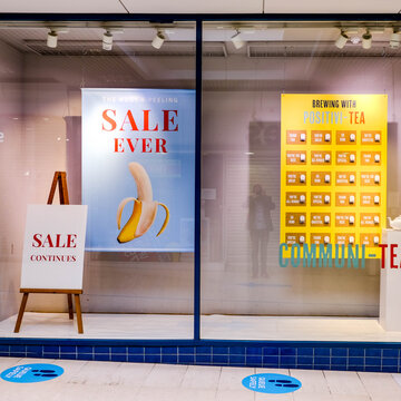 London, UK, June 14, 2020, Retail Fashion Store In South Londone Advertising A Reopening Sales As Lockdown Rules Are Relaxed
