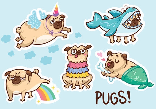 Funny pug dog sticker set. Vector illustration