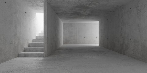 Abstract empty, modern concrete walls room with stairs and indirect lit from above - industrial...