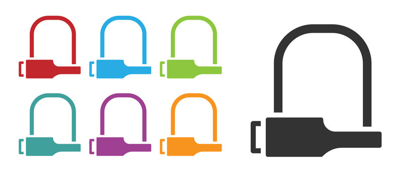 Black Bicycle lock U shaped industrial icon isolated on white background. Set icons colorful. Vector Illustration.