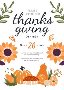 Thanksgiving Dinner invitation template or design with text and date above traditional seasonal fall pumpkins and butternut with pie, colored vector illustration