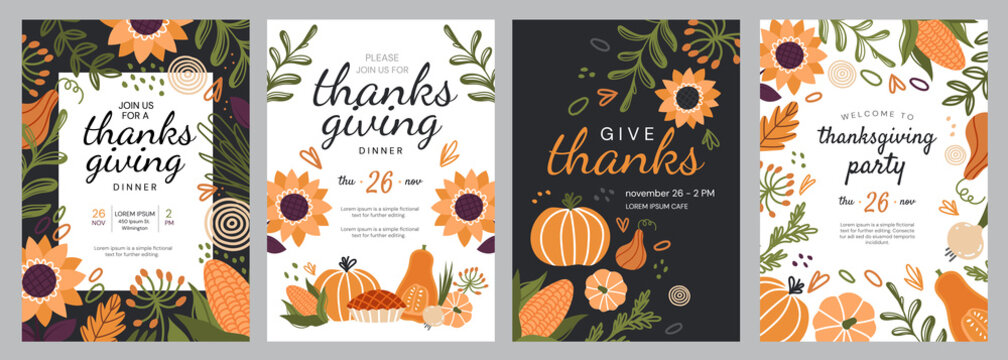 Set of four templates for Thanks Giving celebrations with seasonal fall produce and flowers surrounding central copy space and text, colored vector illustration