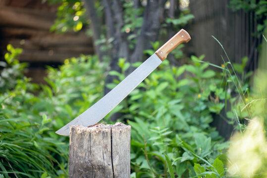 Sharp machete in a wooden stump background.