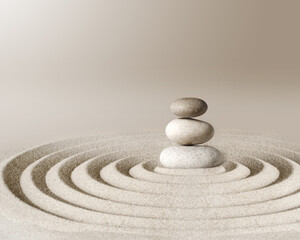 Printed roller blinds Stones in Sand Japanese zen garden meditation stone, concentration and relaxation sand and rock for harmony and balance