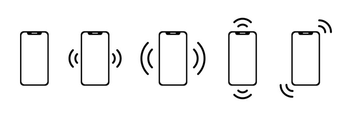 Ringing phone icon. Set of black vector ringing isolated smartphone icon. Vibrating phone vector collection of icons.