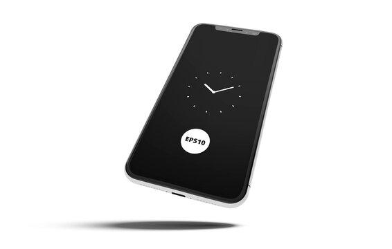 Premium mobile white phone screen mock up template. Modern smartphone mockup, EPS10.