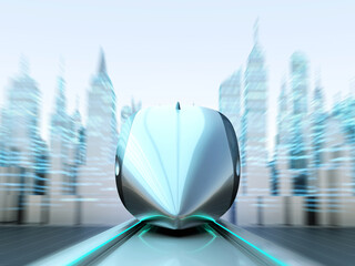 Front view of magnetically levitating train at high speed with motion blur on the background of the towers and skyscrapers.