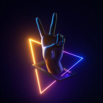 3d render black artificial hand, neon light geometric objects levitating. Victory gesture. Human mannequin body part isolated on dark background. Abstract contemporary art. Modern minimal concept