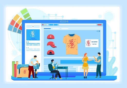 Custom t-shirt printing online services onboarding screens vector illustration. Printshop online typography press order making receiving and processing. Printing company logo or photo.