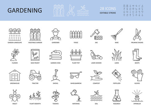 Vector set of gardening icons. Editable Stroke. Plant flower care agriculture water shovel lawn grow. Vegetable seed pot grass fence rake. Wheelbarrow landscape greenhouse tractor watering research.