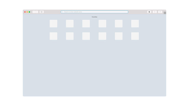 Safari Browser Interface. Clean Colorful Flat Mockup. Digital Website Window On White Background