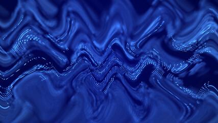 Fotoväggar - Wave stream digital illustration. Abstract background of blue color. 3d rendering.
