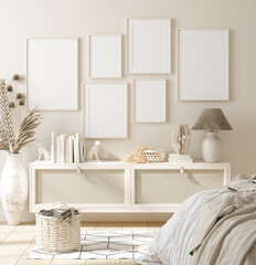 Poster Pierre, Sable Mock up frame in bedroom interior background, beige room with natural wooden furniture, 3d render