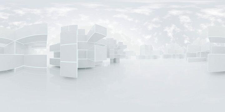 full 360 degree panorama hdr style modern futuristic design 3d rendering illustration