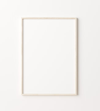 Wooden frame mockup close up on wall, 3d render