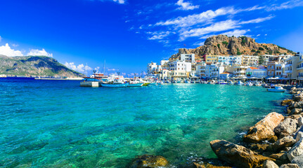 beautiful islands of Greece - Karpathos with picturesque capital Pigadia. Dodecanese