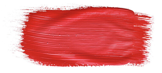 Fototapete - Red colored brush stroke paiting over isolated background, canvas watercolor texture, red lipstick smudge