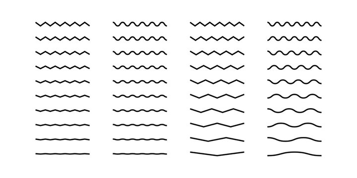 Line element icon set for design. Curve wavy isolated concept illustration.
