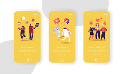 Viral Content Mobile App Page Onboard Screen Template. Funny Unicorn and Cat Characters, Social Media Streaming, Online Network Likes, Followers Attracting Concept. Cartoon People Vector Illustration