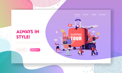 Shopping Tour Landing Page Template. Tiny Characters with Bags and Trolley around of Huge Suitcase, Photo Camera and Flying Airplane. Travelers and Tourist Shoppers. Cartoon People Vector Illustration