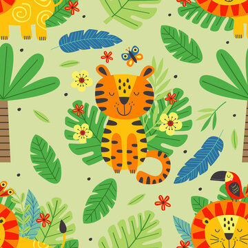seamless pattern with cute tiger and lion -  vector illustration, eps