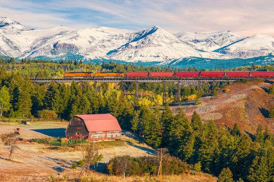 Two Medicine River Bridge in East Glacier Park Village.Glacier county.Montana.USA