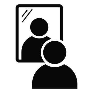 Stick Figure Man Looking Into Mirror. Black Illustration Isolated on a White Background. EPS Vector