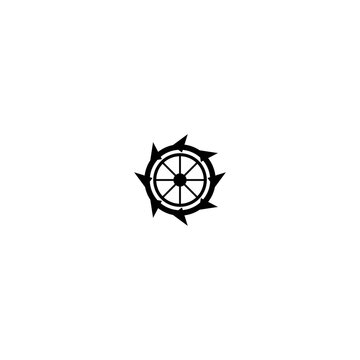 Water mill logo vector icon concept illustration