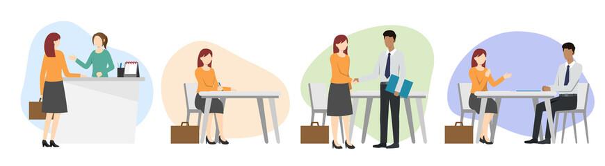 Woman having a job interview. Recruitment.