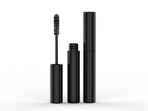 Blank Eyeliner mascara tube with box mockup isolated on white background front view. 3d render illustration.