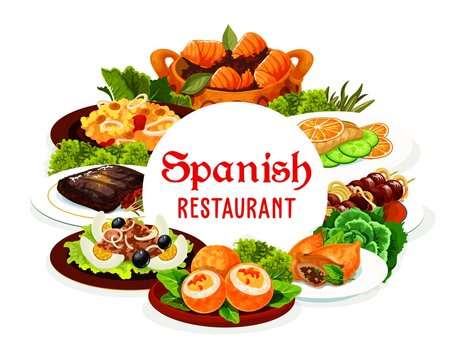 Spanish cuisine meat and fish vector food with vegetables. Seafood paella, beef kabob on skewers and grilled steak, sardine salad with olives, tuna stew, lamb pie and deviled eggs