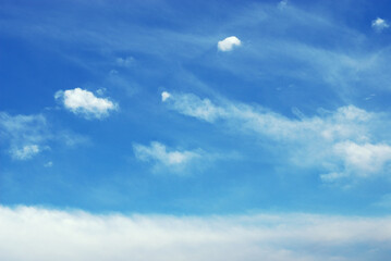 Blue tone of evening cloud and sky before sunset. Peaceful sky in calm atmosphere. A fluctuation weather make a dreamy and imaginative cloudscape. Wide blue sky background. Wall mural