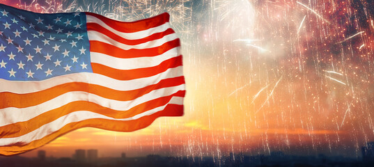 Wall Murals Asia Country American flag on background of fireworks.
