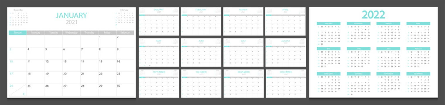 Calendar 2021, calendar 2022 week start Sunday corporate design template vector.