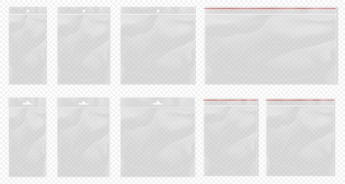 Plastic bag transparent. Clear pouch mockup isolated. Blank transparent bag set with bopp package and ziplock packaging pocket. Realistic empty polypropylene bags with euro suspension for retail