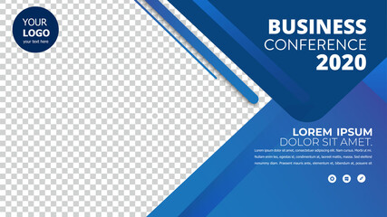 Banner design with blue geometric background.vector illustration