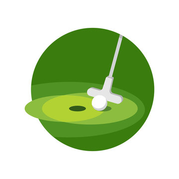 Minigolf icon - putt-putt crazy golf stick and ball and hole on grass field - isolated vector emblem