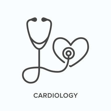 Stethoscope with heart flat line icon. Vector outline illustration of listening to heartbeat. Cardiovascular, cardiology clinic thin linear medical pictogram